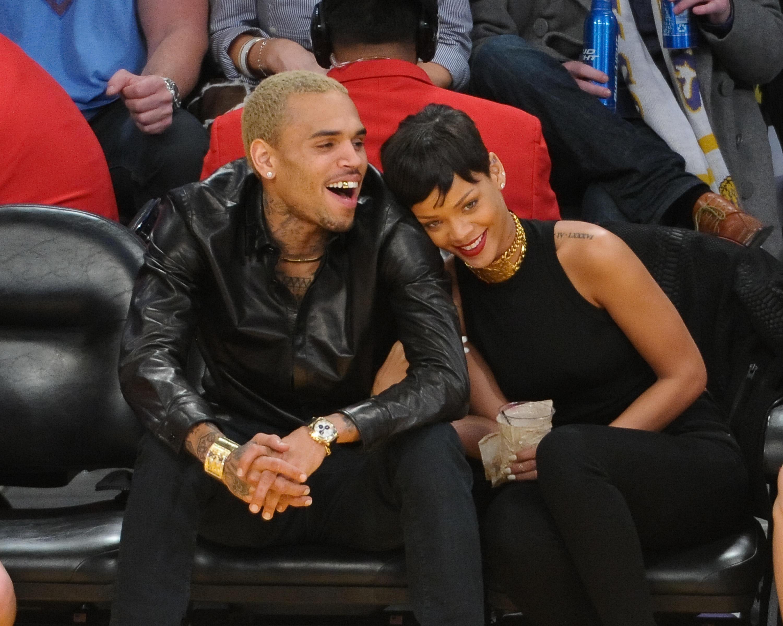 Chris Brown and Rihanna at NY Knicks Vs. LA Lakers basketball game