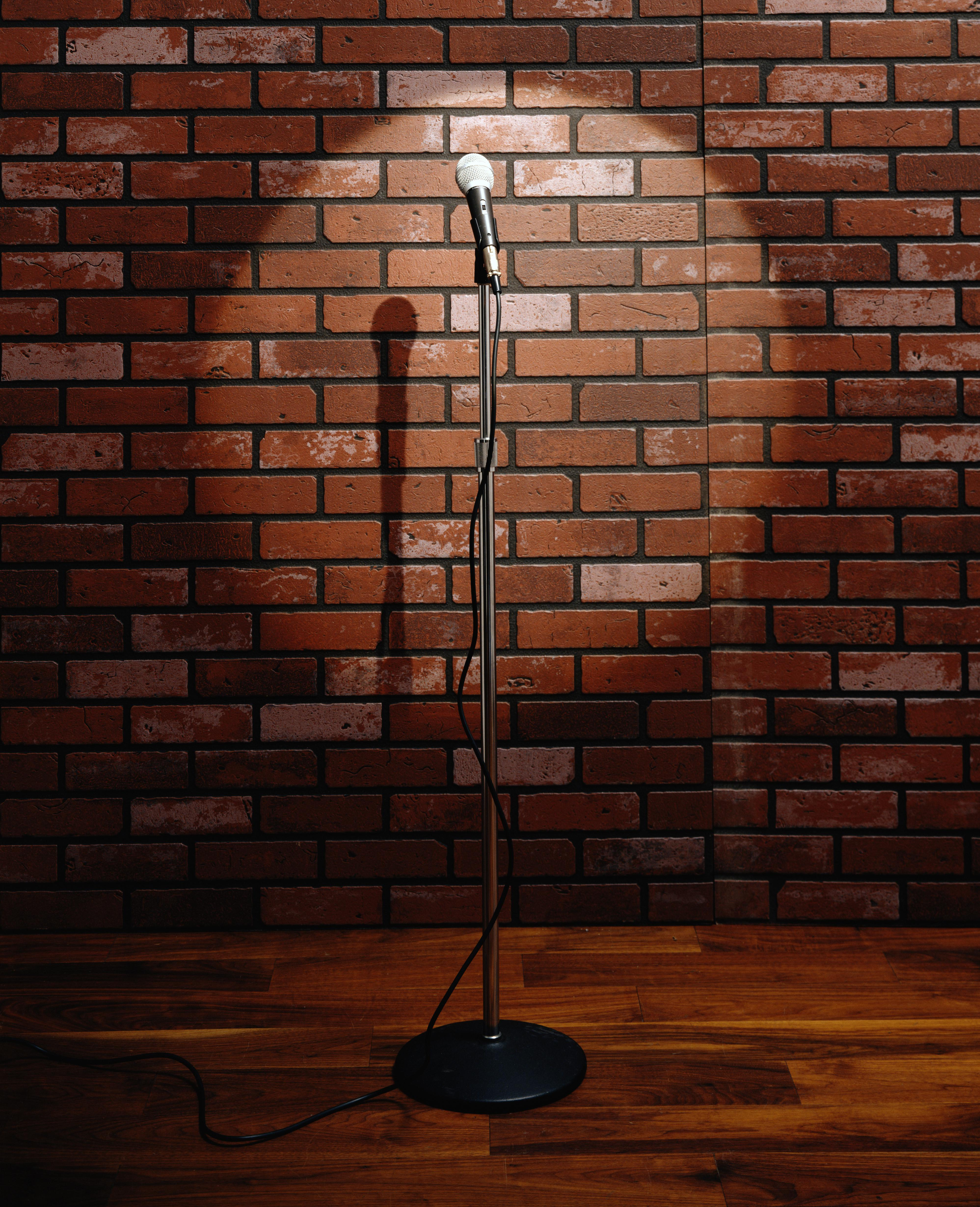 Microphone on stand in front of brick wall
