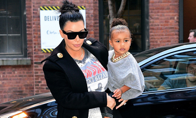 north west dressed like kanye west with kim kardashian