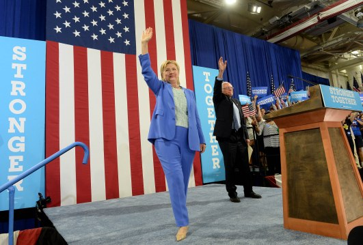 Bernie Sanders Campaigns With Hillary Clinton In New Hampshire