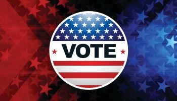 USA Election Vote Button with star shape background