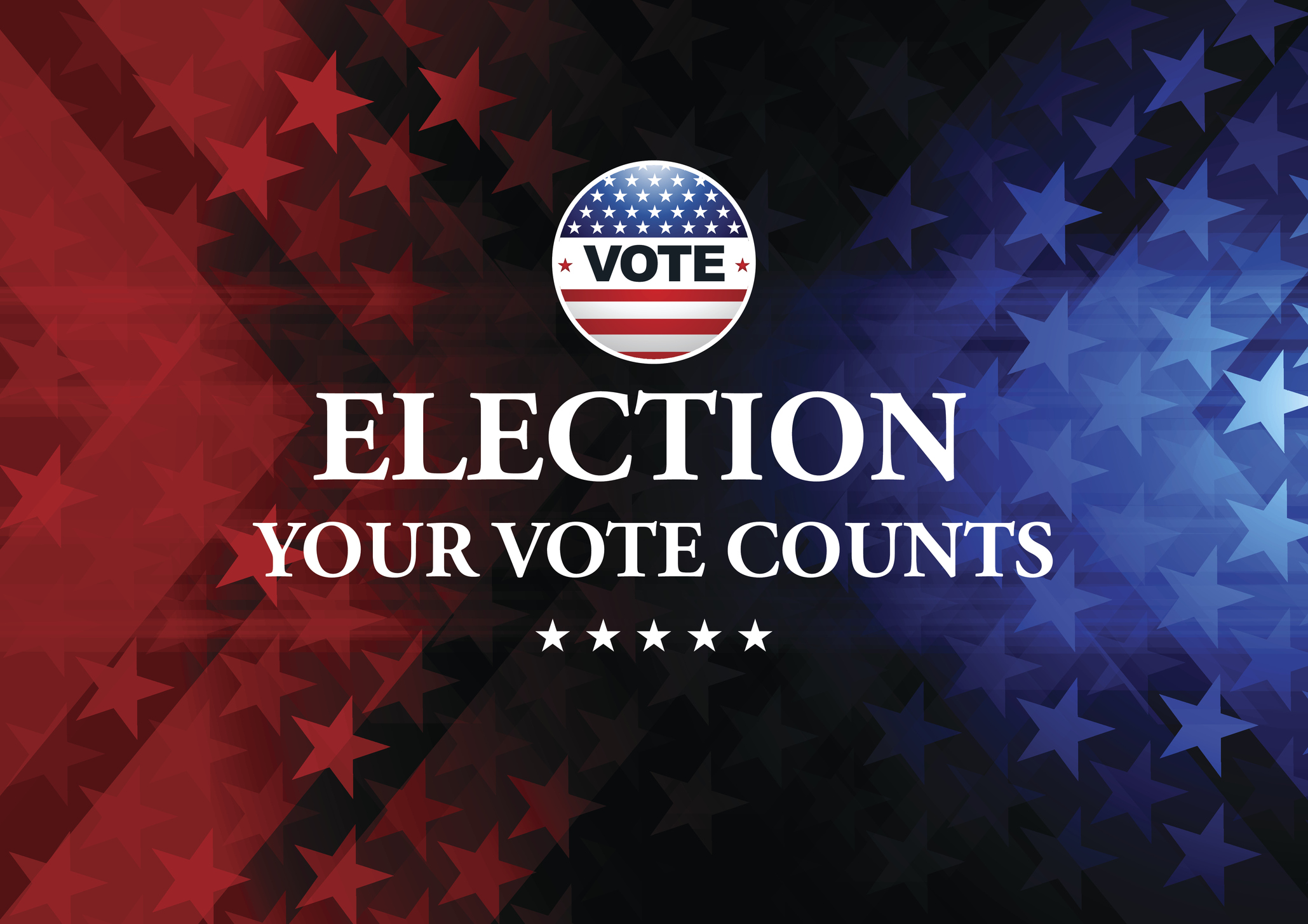 USA Election Vote Button with blue background