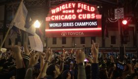 Chicago Cubs Fans Gather To Watch Game 7 Of The World Series Against The Cleveland Indians