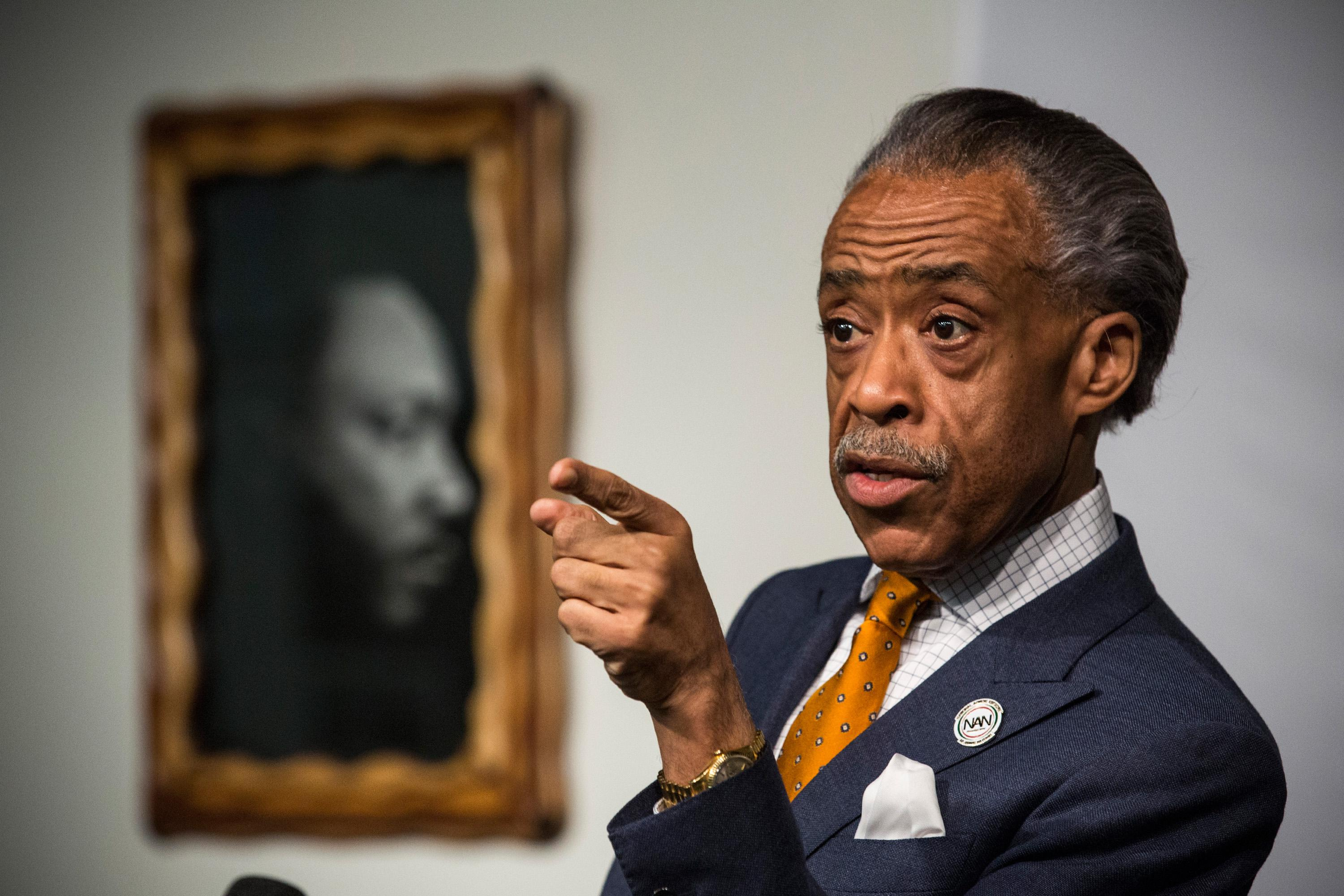 Rev. Al Sharpton Holds News Conference At National Action Network's Office