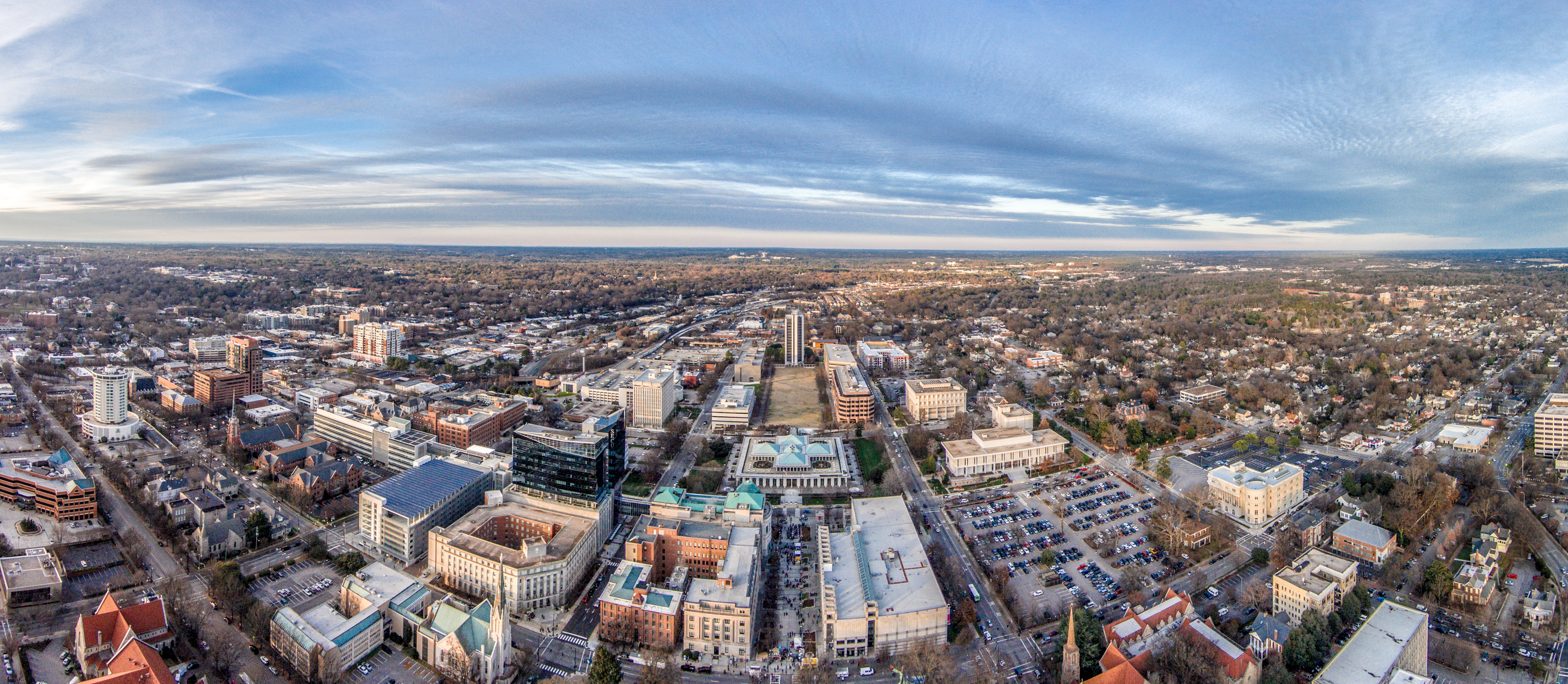Aerial panorama of Raleigh NC