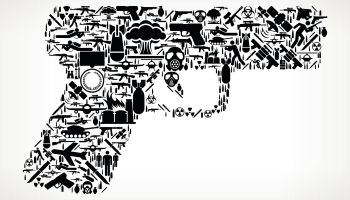 Gun War and Modern Warfare Vector Icon Pattern