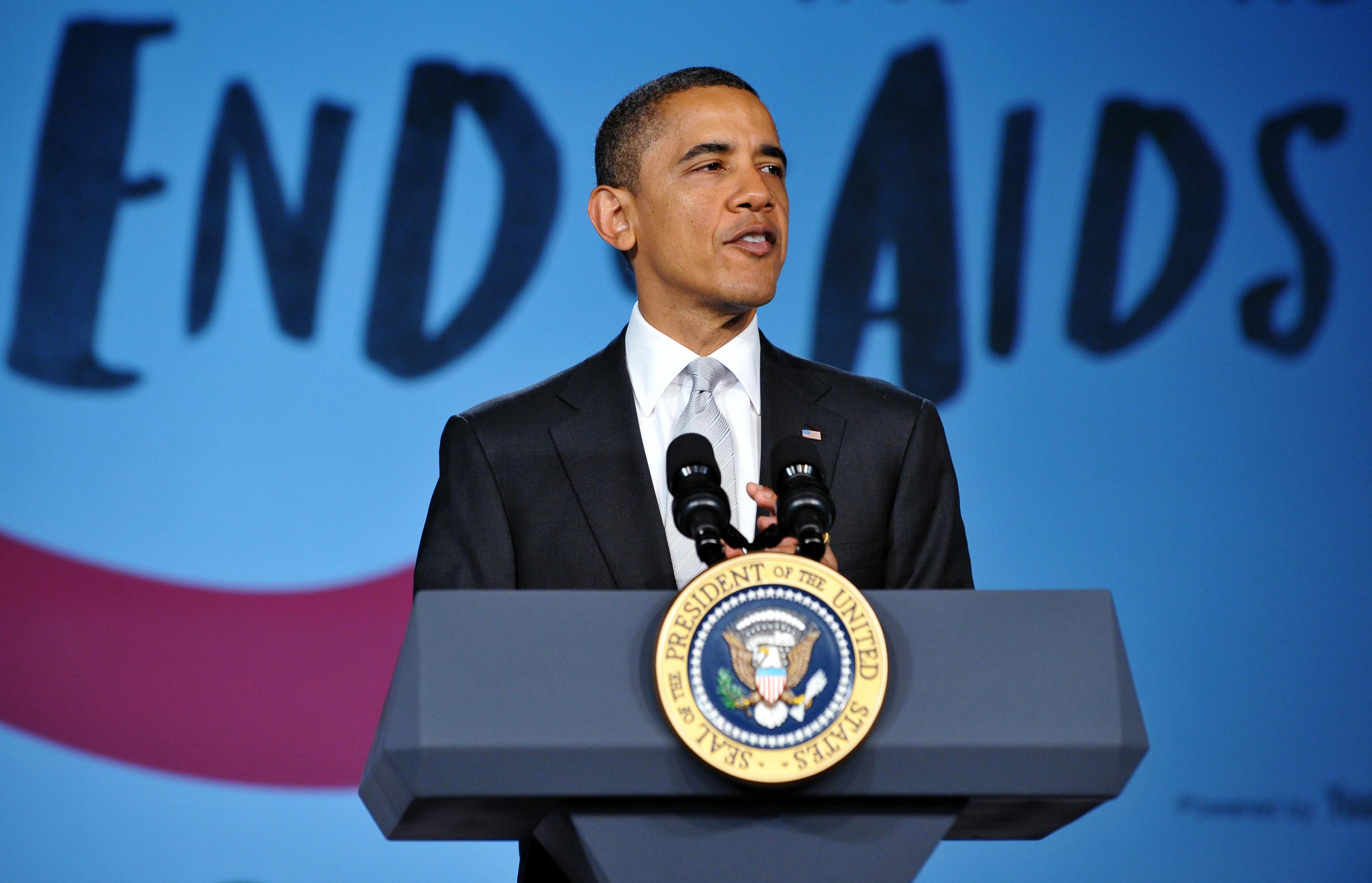 US President Barack Obama speaks at a Wo