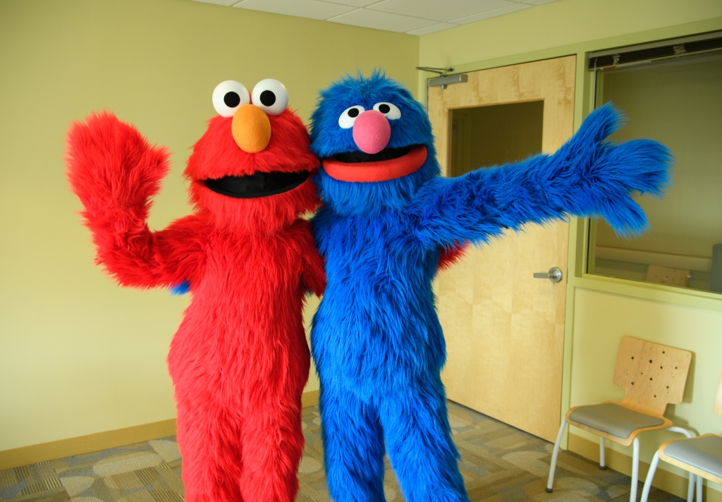 Elmo And Grover From Sesame Street Live Visit The Children Of Joseph M. Sanzari Children's Hospital