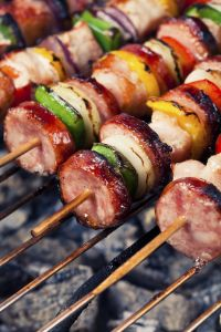 grilled skewers of meat and vegetables
