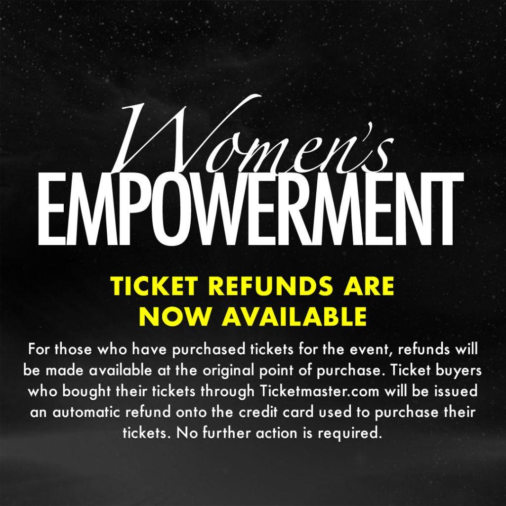 Women's Empowerment 2020 ticket refunds